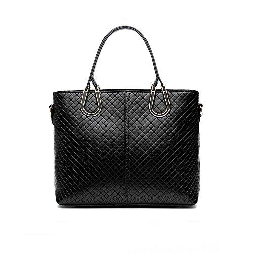 sac à main en PU cuir pour femme sac à bandoulière fourre-tout Rosé Grand Noir Sac à Main