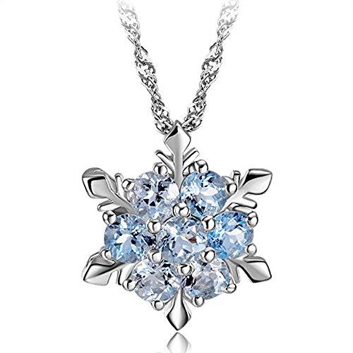 (Frozen Sterling Silber blauen Kristall Blau gefrorene Schneeflocke Elsa-Silber-Halskette (Licht aqua blau))