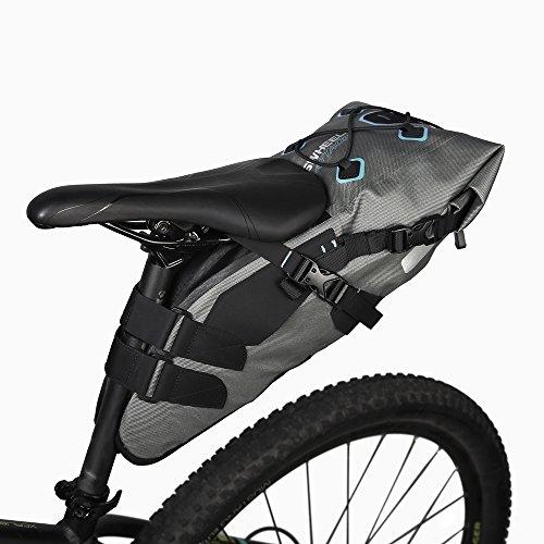 Roswheel 840D TPU Fahrrad Tasche 7L 100% Wasserabweisende Satteltasche Aufrollbare Öffnung aus Polyester mit Reflektierendes Logo mit Sport kaltes Handtuch (7L 100% Wasserdicht) (Volle Front-logo-design)