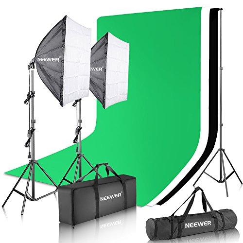 Neewer Softbox lumière 700W, Support 2,6x 3m, 3Lots de Fond de 1,83x 2,8m en Mousseline (Blanc, Noir, Vert) et Sac, pour Studio Photo