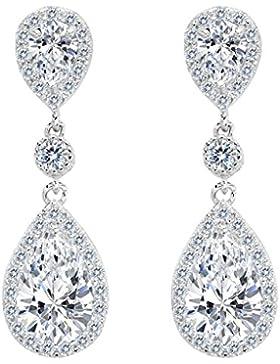 Clearine Damen 925 Sterling Silber Elegant Hochzeit Braut Cubic Zirconia Unendlichkeit Tropfen Pierced Dangle...