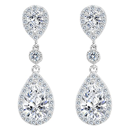 Clearine Damen 925 Sterling Silber Elegant Hochzeit Braut Cubic Zirconia Unendlichkeit Tropfen Pierced Dangle Ohrringe Klar