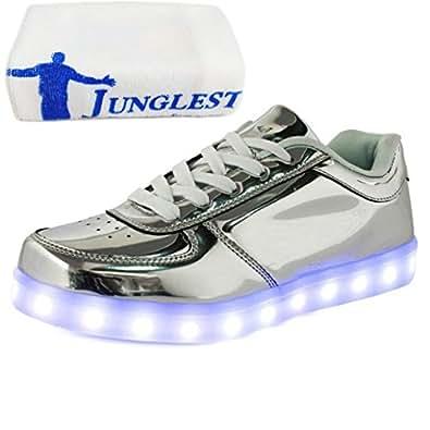 (Present:kleines Handtuch)Silber EU 44, LED JUNGLEST® Leuchtend laufende 7 Unisex Leucht Damen und USB Sport Freizeitschuhe Herbst Paare Herren mode Erwachsene Wint