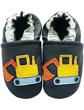 Carozoo Excavator Dark Blue Baby Boy Soft Sole Leather Shoes