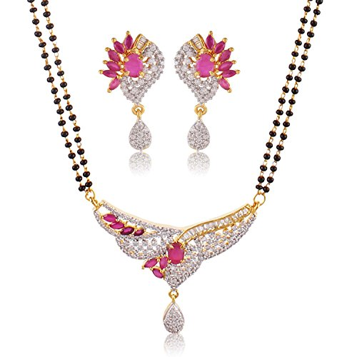 Bling N Beads Ruby Color Stone 18K Gold Plated American Diamond Managalsutra For Women