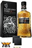 Highland Park 12 Jahre Single Malt Whisky Islands 0,7 Liter + 2 Glencairn Gläser + 2 Schiefer Glasuntersetzer ca. 9,5 cm Durchmesser