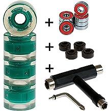 4 x FunTomia - Skateboard LED wheels ruedas 59x45 mm 82A - con 8 x Mach1® rodamientos ABEC-11 + 1x T-Tool