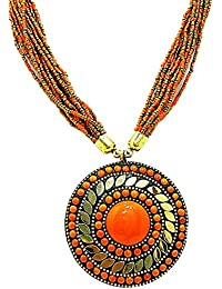 Muccasacra Good Looking Hot Selling Orange Stone Hand Crafted Medallion Brass Necklace