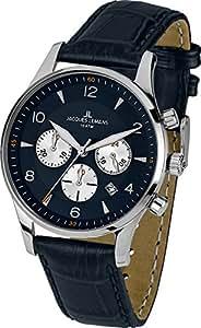 Jacques Lemans - 1-1654C - London - Montre Homme - Quartz Chronographe - Cadran Bleu - Bracelet Cuir Bleu