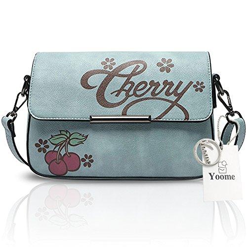 Yoome Preppy stile stampa borsa in pelle borsa per ragazze scolastiche Tulle cinturino borse per le donne - rosa Blu