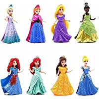 Disney Princess Doll Giftset, 8 Piece - Featuring Anna, Elsa, Cinderella, Bella, Merida, Rapunzel, Ariel and Tiana