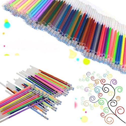 Verlike Gelschreiberminen für Gelschreiber, feine Spitze, Glitzerfarben Einheitsgröße 48 Colors