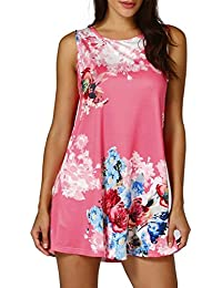 zarupeng Womens Casual Floral Print Sleeveless Vest Shirt Tank Blouse Tunic Tops