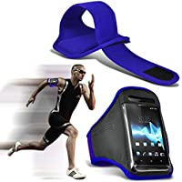 ( Blue 5 inch) Xgody X11 case High Quality Fitted Sports Armbands Running Bike Cycling Gym Jogging Ridding Arm Band case cover by i-Tronixs