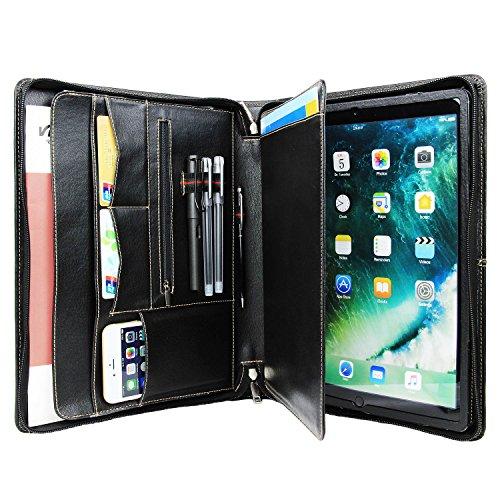Sie Für Taschen Tragen Ipads (Professionelle Echtleder Kompaktes Padfolio Business Portfolio Professionelle Organizer Case Tasche für iPad Pro 12.9 und A4 Notebook Papier (Schwarz))