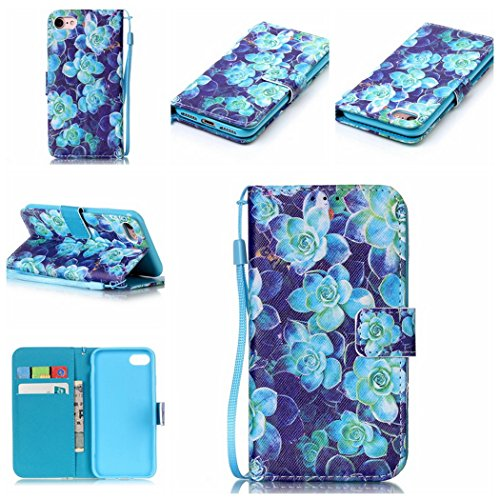 Ledowp Apple iPhone 7portafoglio in pelle, protezione integrale modello colorato design custodia in pelle custodia a portafoglio in pelle con slot per schede per iPhone 7 blu Blue Flower Blue Flower