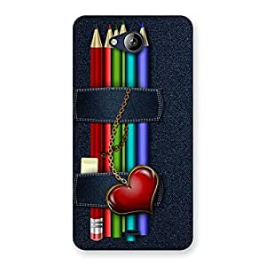 Stylish Denim Pencil Print Back Case Cover for Canvas Play Q355