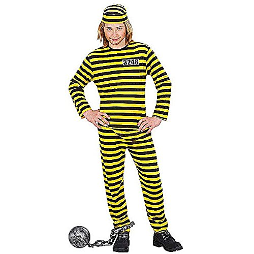 Gang Zubehör Chain Kostüm (Children's Convict Black with Yellow 158cm Costume Large 11 to 13 yrs (158cm) for Prisoner Jail Fancy)