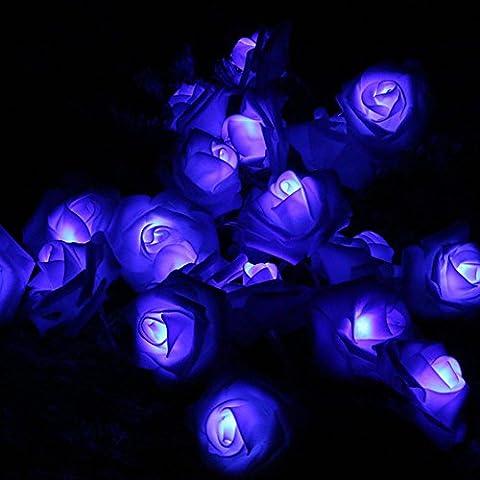 Morbuy Lichterketten, 20LED/30LED/40LED/50LED Rosen Blumen feenhafte String Lights für Hochzeit Festival Garden Party Weihnachtsdekoration Zubehör (5M/50LED, Blau)