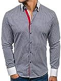 BOLF Herren Hemd mit Knopfleiste Elegant gestreift Langarm Slim Fit 2790 Dunkelblau-Weiß M [2B2]