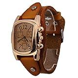 #10: Rrimin Unisex Men Women Leather Band Rectangle Dial Wristwatch Quartz Watch Orange