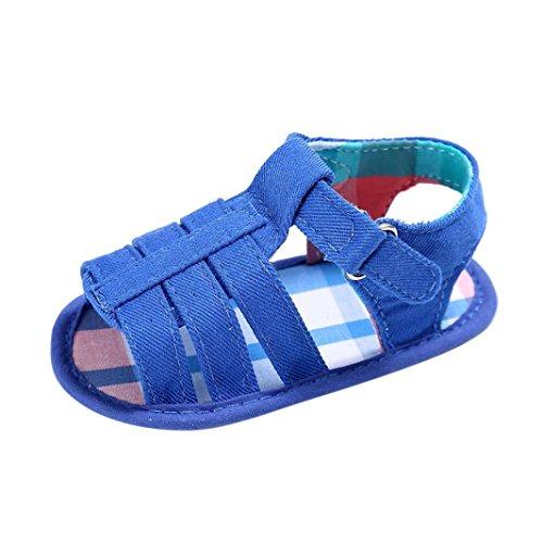 Uomogo® scarpine neonato sandalo bianco in tela, modello step up, con chiusura con velcro laterale, unisex bambino, bambina, neonato, neonata (età: 0~6 mesi, blu)