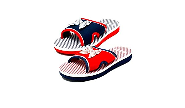 sendit4me Girls Navy blu Foam Beach Shoes/Sandals With Bow Front