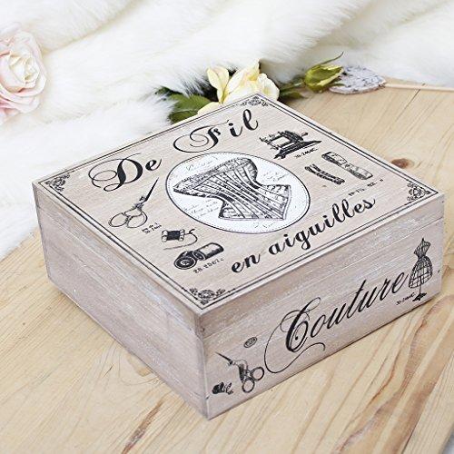 5. Hochzeitstag French themed Nähkästchen aus Holz, Ideale Aufbewahrungslösung für jedes Stil Home–Ideal für ein Fünftel (Holz) Hochzeitstag Geschenk–W22x H9x 22cm