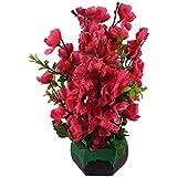 #8: Thefancymart artificial Blossom flowers plant (12 inchs/ 30 cms) Rani Colour arrangement in Algae impression on wood Pot