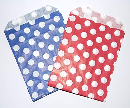 Celloexpress® Süßigkeitentüten aus Papier, Verschiedene Farben und Muster, 127 x 178 mm, 500 Stück, Poka Dot Red & Blue, 5