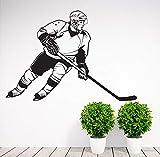 woyaofal Abnehmbare Sport Hockey Player Wandaufkleber Vinyl Art Home Decoration Abziehbilder Vinyl Murals Whiteboard Wallpaper Abnehmbare 61x42cm