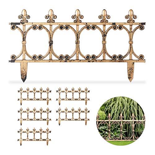 Relaxdays, kupferoptik 6-teiliger Beetzaun antik, dekorativer Steckzaun für Garten, Vintage Design, Erdspieße, H: 24 cm, 1 Stück