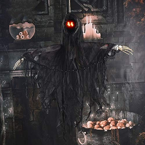 Schwarzen Sensenmann Den Hei Kostüm - WSCOLL Bar Club Scary Halloween Requisiten Hängen Halloween Scary Ghosts Helle Augen Sensenmann Halloween Dekoration Horror ScreamHEI