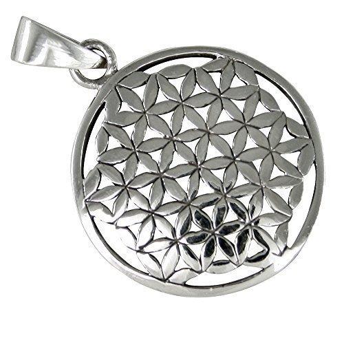 Mandala, flor de la Vida, colgante de plata 925