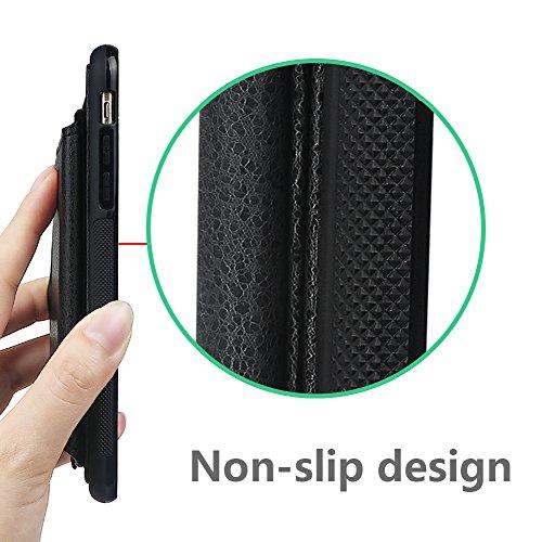 """xhorizon Portefeuille protecteur en cuir, étui résistant aux chocs avec porte-cartes de crédit pour iPhone 6 Plus / iPhone 6S Plus [5.5""""] noir +9H Glass Tempered Film"""