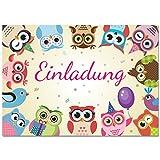 12 Einladungskarten zum Kindergeburtstag mit lustigen Eulen und Uhus / Einladungen für Jungen und Mädchen im Set für die Geburtstagsparty