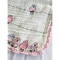 Muselina de algodón para bebés con puntilla Pajaritos