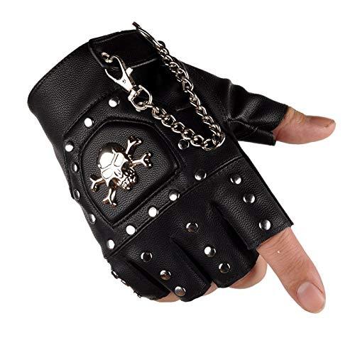 XIAOFENG-R Guantes de Cuero Unisex Fingerless Rivet Punk Personality Half Finger Leather Gloves Guantes de Moda (Color : Left, Size : L)