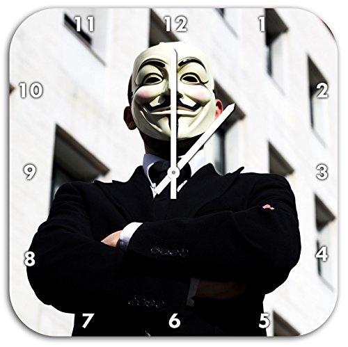 Anonymus Maske, Wanduhr Quadratisch Durchmesser 48cm mit weißen spitzen Zeigern und Ziffernblatt, Dekoartikel, Designuhr, Aluverbund sehr schön für Wohnzimmer, Kinderzimmer, (Maske Invisible Man)