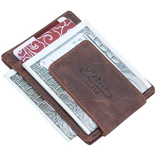 Win&Income Cuir Crazy Horse Money Clip Pinces à billets Portefeuille Homme Porte-cartes de crédit Pochettes homme, Brun