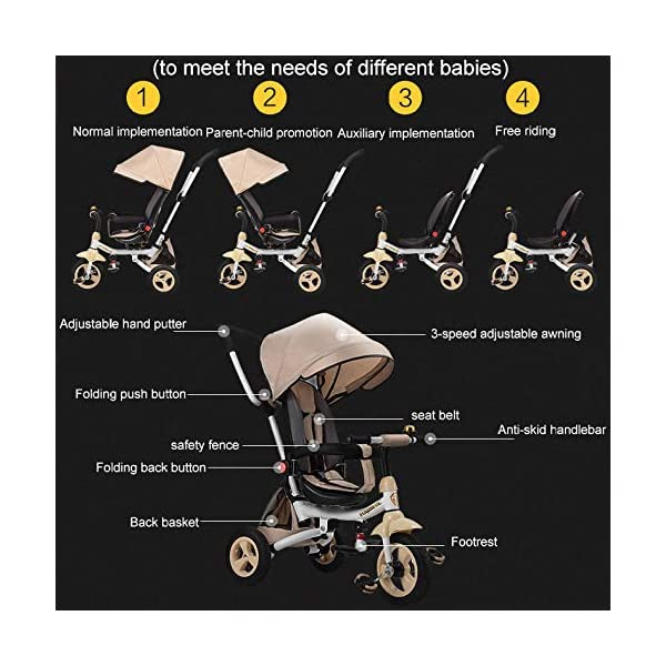 4 In 1 Childrens Folding Tricycle 12 Months To 6 Years 360° Swivelling Saddle Children's Pedal Tricycle Folding Sun Canopy 3-Point Safety Belt Kids' Trikes Maximum Weight 25 Kg,Brown  ★Material: High carbon steel frame, suitable for children from 12 months to 6 years old, the maximum weight is 25 kg ★ 4 in 1 multi-function: can be converted into a stroller and a tricycle. Remove the hand putter and awning, and the guardrail as a tricycle. ★Safety design: Golden triangle structure, safe and stable; front wheel clutch, will not hit the baby's foot; 3 point seat belt + guardrail; rear wheel double brake 2