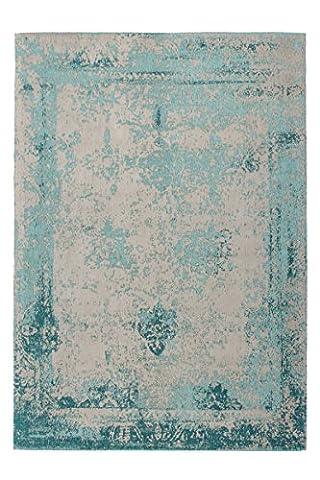 Teppich Wohnzimmer Carpet modernes Design Vintage RUG Nostalgia 285 Türkis Baumwolle 200x290cm | Teppiche günstig online