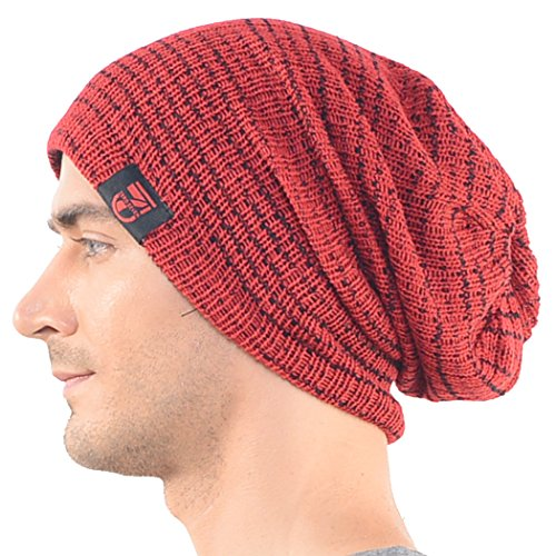 Zands 0702411022113 Mens Slouchy Beanie Long Cap Winter Knit Skullcap Red  B0724- Price in India a2eb908661b