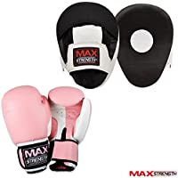 MAXSTRENGTH ® Unisex Rex Leather Pink Curved Focus Pads Ladies with Pink Boxing Gloves boxing bag gloves senior junior girls hook And Jab Sparring Kit Boxercise womens martial arts UFC training punching kickboxing equipments MMA adults.