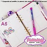 A5 - REFILL handmade per agende planner settimana su 2 pagine Rainbow l'unicorno