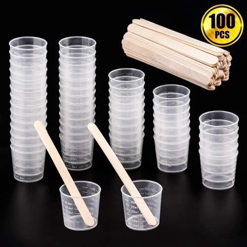 WXJ13graduato in plastica 50pezzi 30ml tazze tazze trasparente scala con 50pezzi in legno bastoncini per miscelazione vernice, antimacchia, resina epossidica,