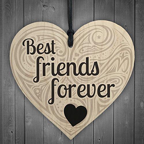 Rot Ocean Freundschaft Best friends forever Schild zum Aufhängen Holz Shabby Chic Love Herz Geschenk