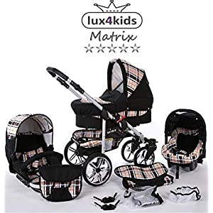 Travel System Stroller Pram Pushchair 2in1 3in1 Set Isofix X-Car by SaintBaby Black & Check 3in1 with Baby seat   14