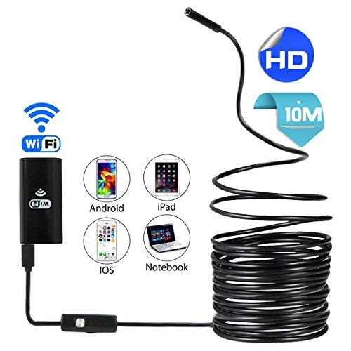 Telecamera endoscopica di controllo, WiFi, senza fili, 2.0Megapixel, HD 720p Periscopio, IP67impermeabile, telecamera endoscopica con 6LED regolabili per iPhone iOS, Android, Smartphone, tablet, PC