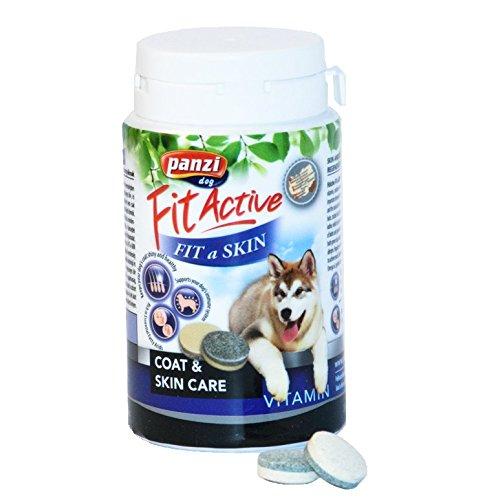 Panzi FitActive Fit-a-Skin|Premium-Multivitamin-Nahrungsergänzung das die Haut- und Fellregeneration bei Hunden und Welpen unterstützen hilft|1er Pack (1 x 60g)